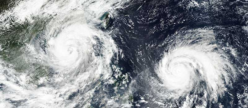 Typhoons Sarika and Haima in the Pacific Ocean