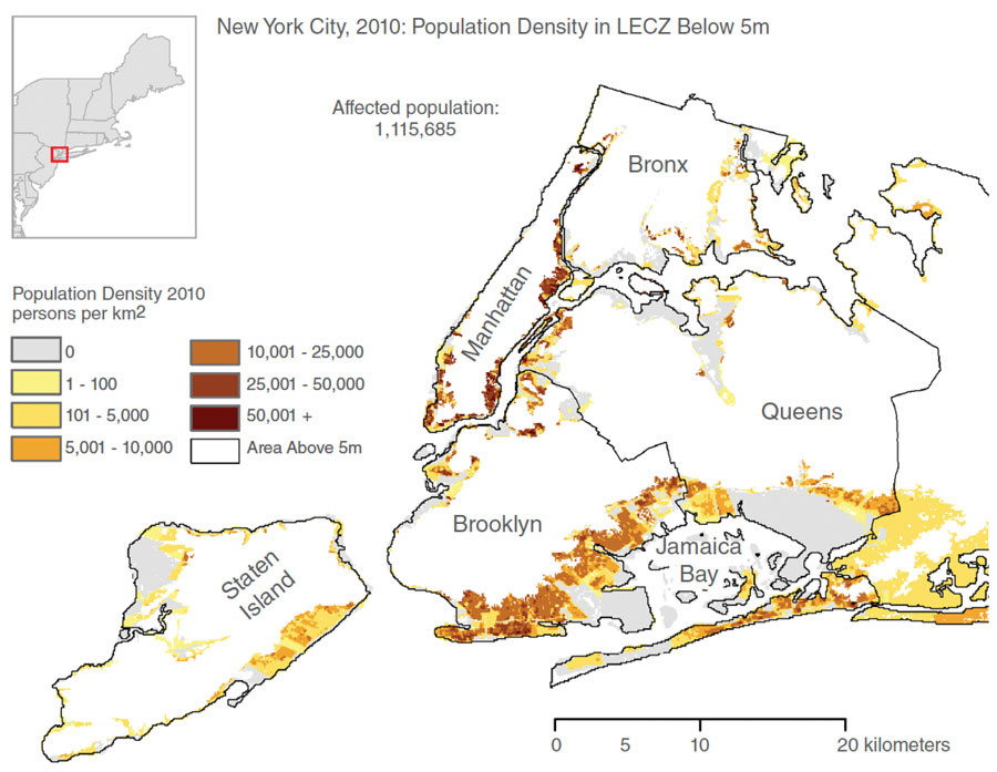 Map showing New York City population density in low-elevation coastal zones
