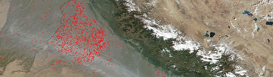 Fires in northwest India - feature page