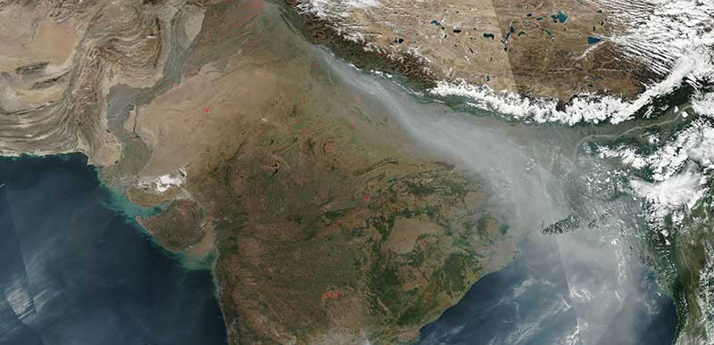 Smoke and fires in northwest India
