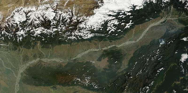 Brahmaputra river India 9 Jan 2016 Terra Lg