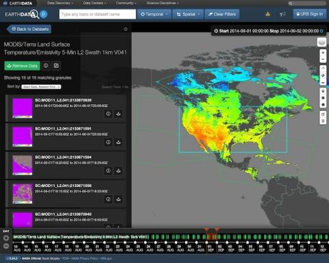 Screenshot of the Earthdata Search client