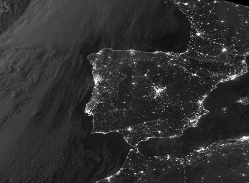 VIIRS DNB image of Spain