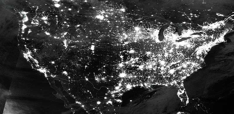 Nighttime lights over the US