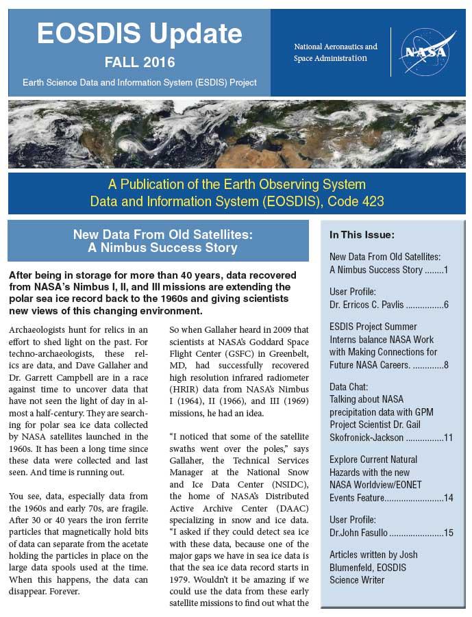 Eosdis Newsletter Fall 2016 Screenshot