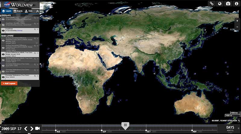 NASA Worldview displaying the Annual Global WELD True Color composite for 2009
