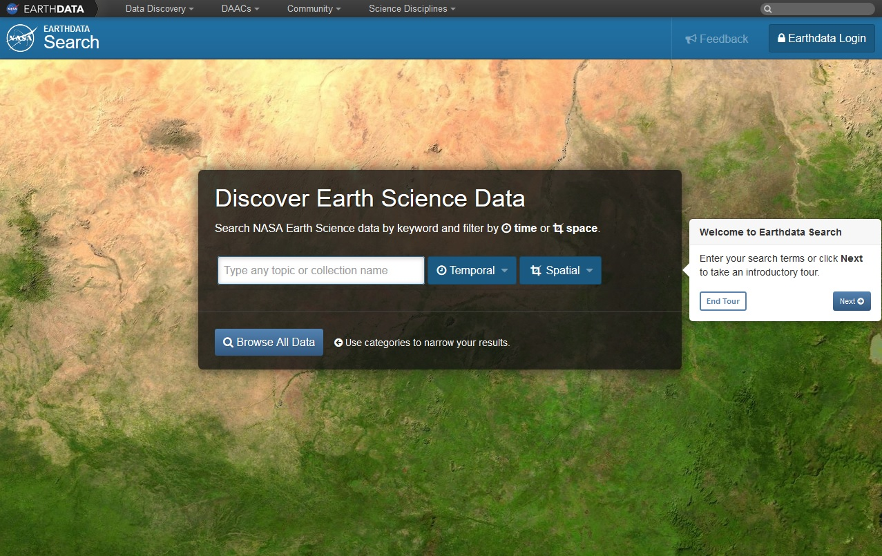 Earthdata Search home page