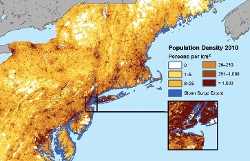 This map shows the storm surge from Hurricane Sandy in October 2012, as estimated by the Federal Emergency Management Agency, coupled with SEDAC population density data for 2010.