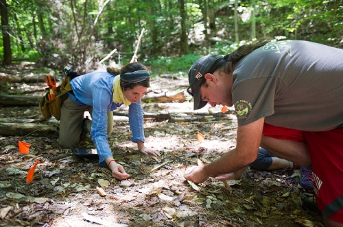 Image of Dr. Michael Dietze and Dr. Istem Fer at a field site in Bartlett, NH.