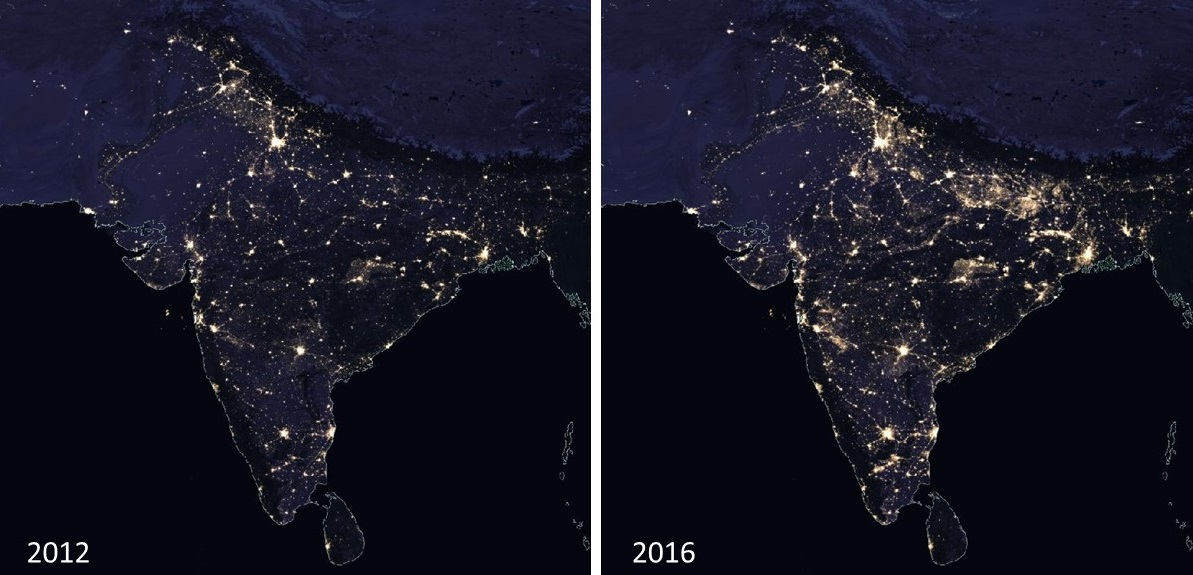 2012 & 2016 VIIRS nighttime lights images of India
