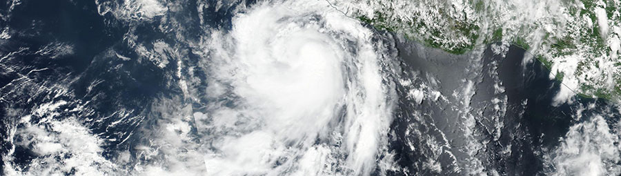 Tropical Storm Dora off the coast of Mexico - feature grid