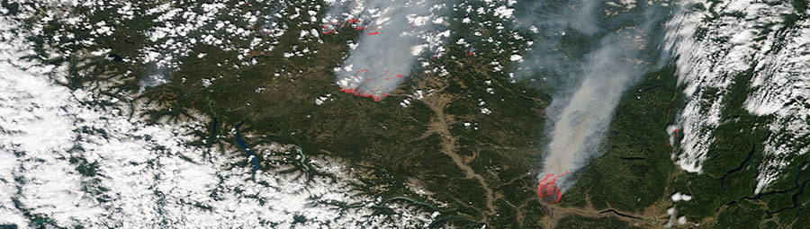 Fires in British Columbia, 15 July 2017 on a Terra/MODIS image