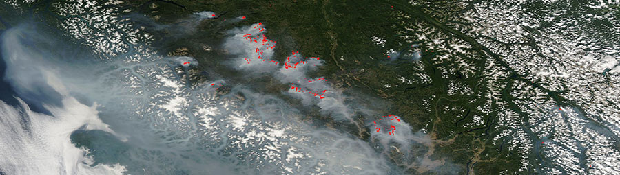 Image from MODIS/Aqua of fires in British Columbia, Canada on 5 Aug 2017