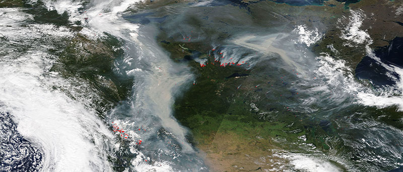 Fires in Canada on 12 August 2017 as shown by MODIS/Terra