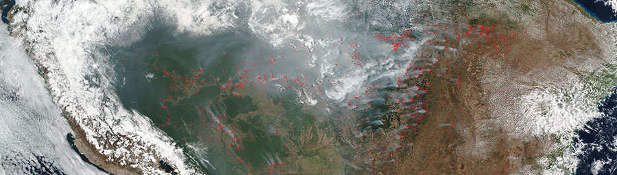 Fires and smoke in northern Brazil on 17 September 2017 (SNPP/VIIRS)