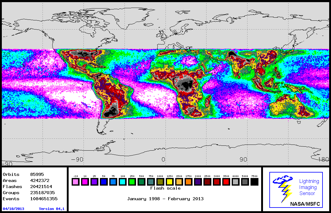 LIS map of global lightning 1998 to 2013