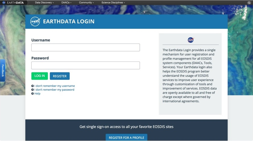 Earthdata Login splash page