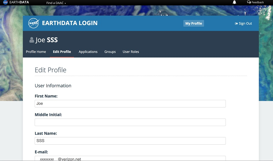 Earthdata Login Profile Page