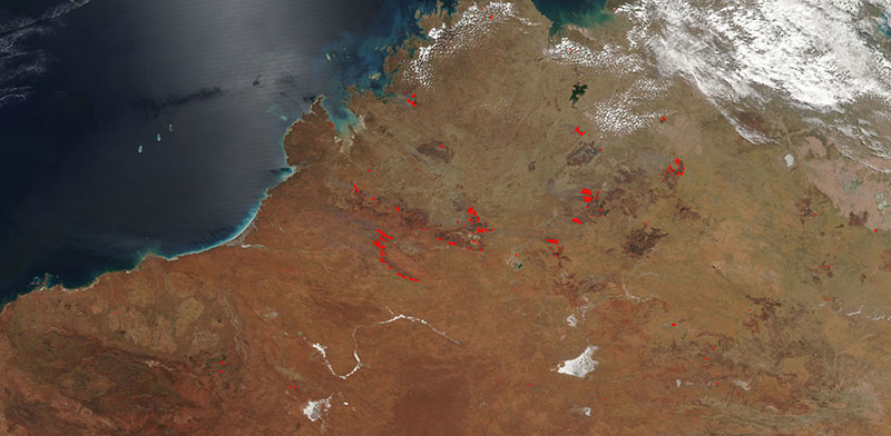 Fires in Western Australia on 1 October 2017 (Suomi NPP/VIIRS)