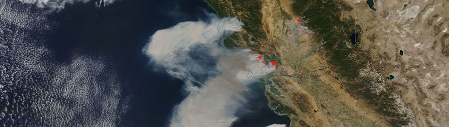 Fires in Northern California on 9 October 2017 (MODIS/Terra)