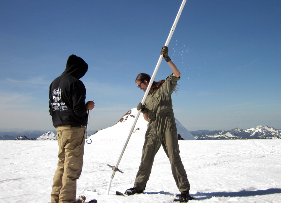 Photograph of researchers conducting a snow survey