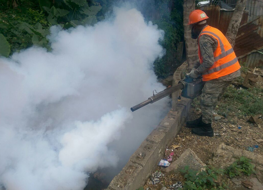 Photograph of a man spraying insecticide