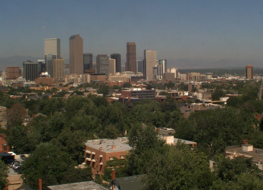 Weathercam photograph of air pollution in Denver on July 22, 2014