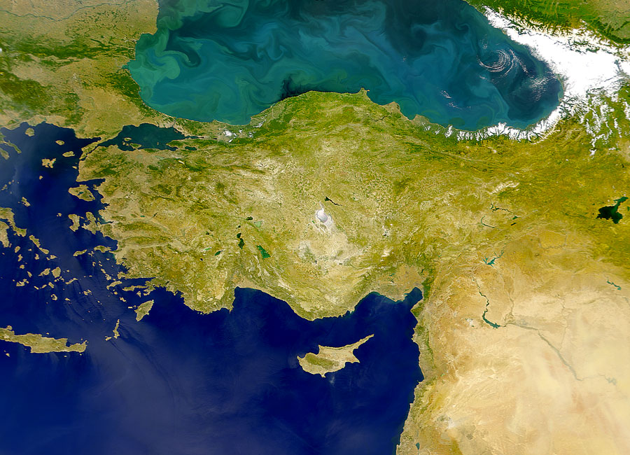 Satellite image showing ocean color differences between the Black Sea and the Mediterranean Sea