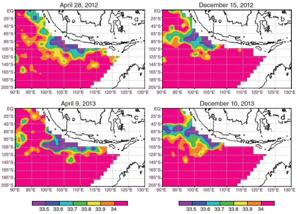Series of data images showing differences in salinity between April 2012 and December 2013