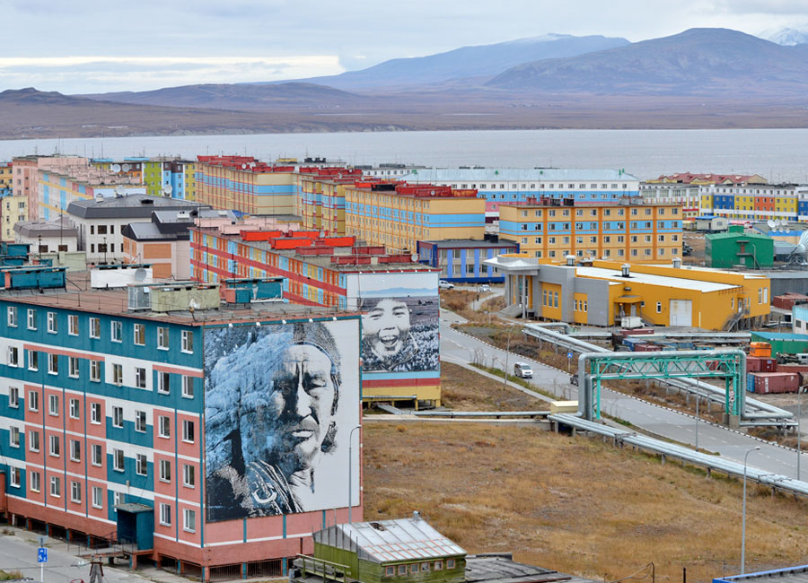 Photograph of buildings on piles in Anadyr, Russia