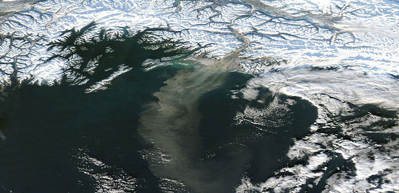 Dust Storm off Southern Alaska on 18 November 2017 (MODIS/Aqua)