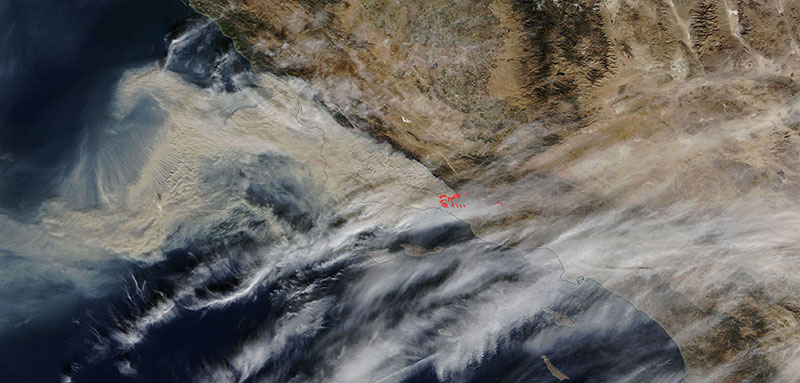 Fires in southern California on 10 December 2017 (MODIS/Terra)