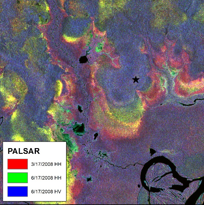 PALSAR image © JAXA 2008 and courtesy Michigan Technological University.