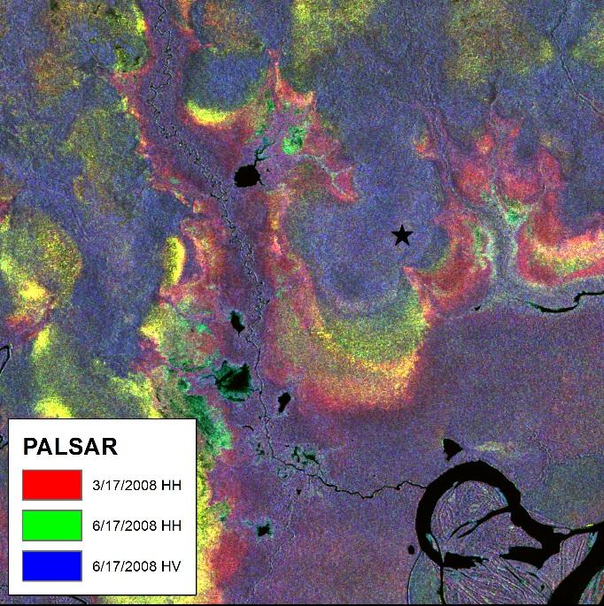 PALSAR image © JAXA 2008 and courtesy Michigan Technological University.