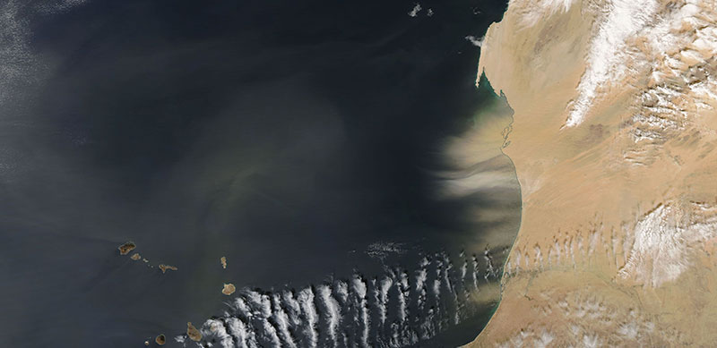 Dust Storm off the coast of Mauritania on 1 January 2018 (MODIS/Aqua)