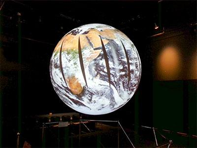 MODIS imagery provided by GIBS projected on Science on a Sphere