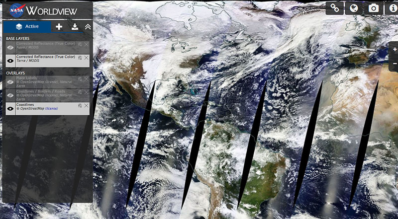 Worldview interface displaying near real-time imagery