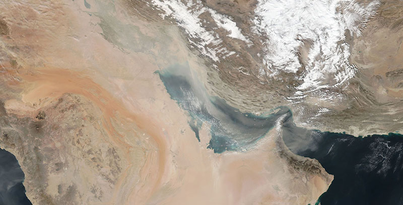 Dust Storm in the Persian Gulf on 21 January 2018 (Suomi-NPP/VIIRS)