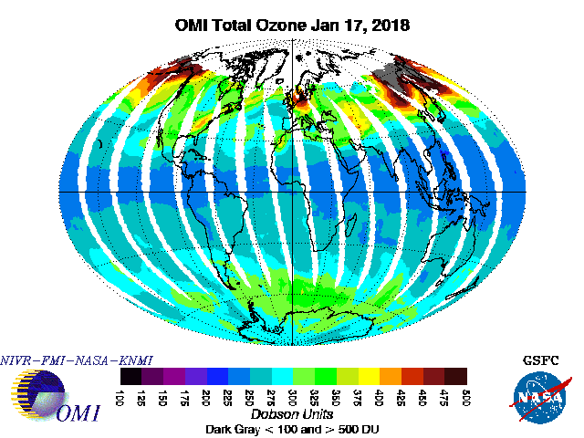 OMI global total ozone image