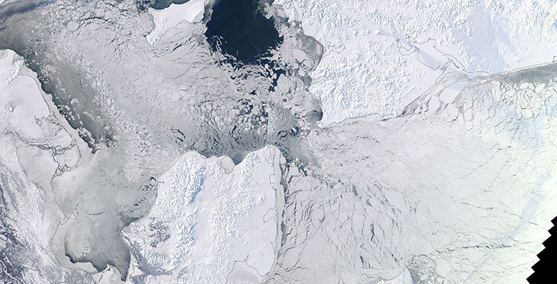 Sea ice in the Bering Strait on 4 February 2018 (MODIS/Terra)