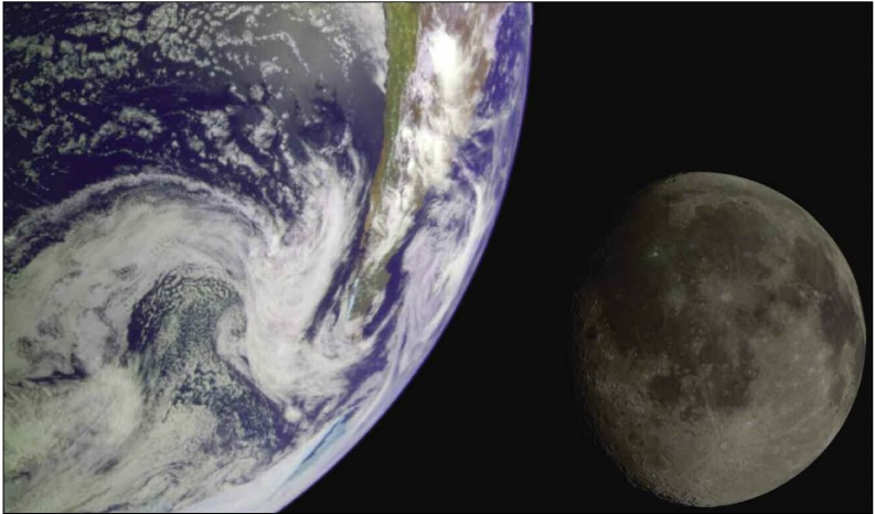 Galileo Earth and moon