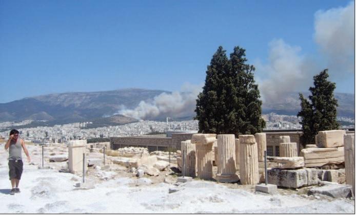 Acropolis smoke plumes