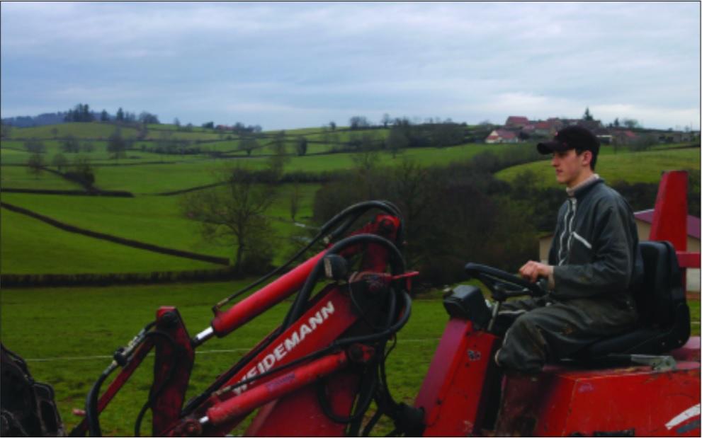 Burgundy farm tractor