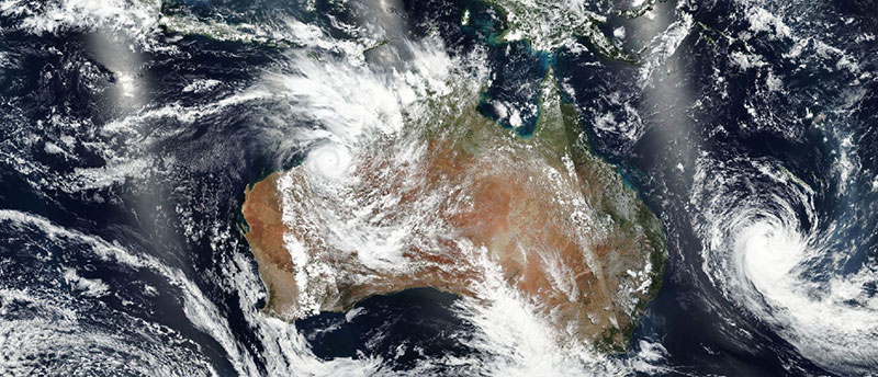 Cyclone Kelvin over western Australia on 18 February 2018 (Suomi-NPP/VIIRS)