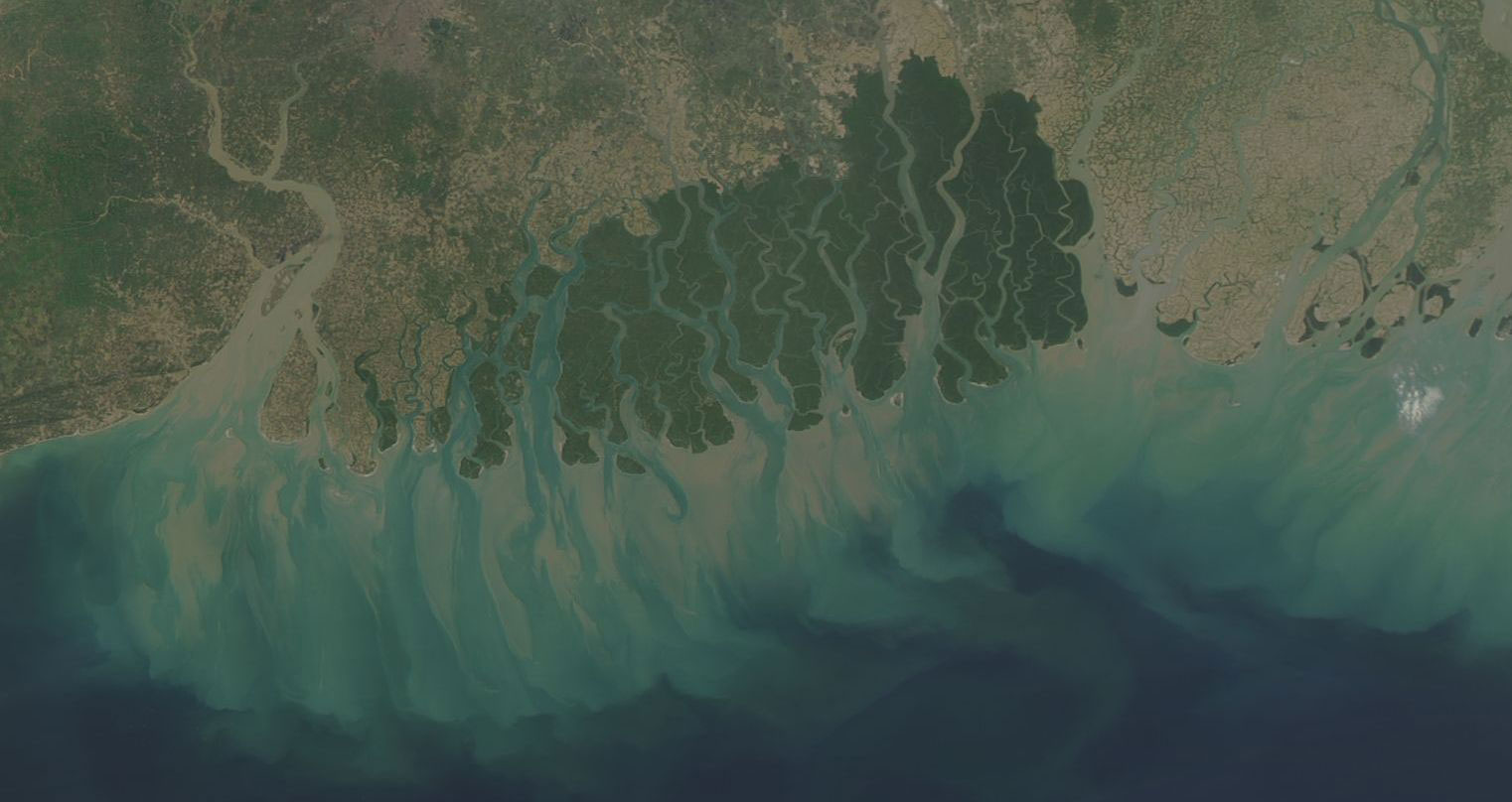 Sundarban forest in India and Bangladesh on 28 February 2018 (MODIS/Aqua)