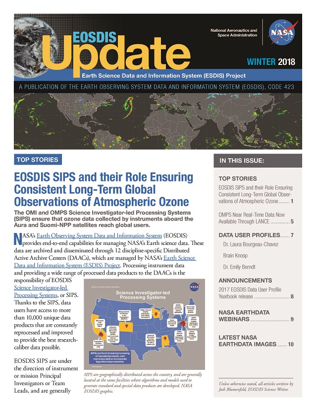 EOSDIS Update- Winter 2018 newsletter cover image