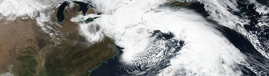 Nor'easter over the east coast of the USA on 2 March 2018 (Suomi-NPP/VIIRS)