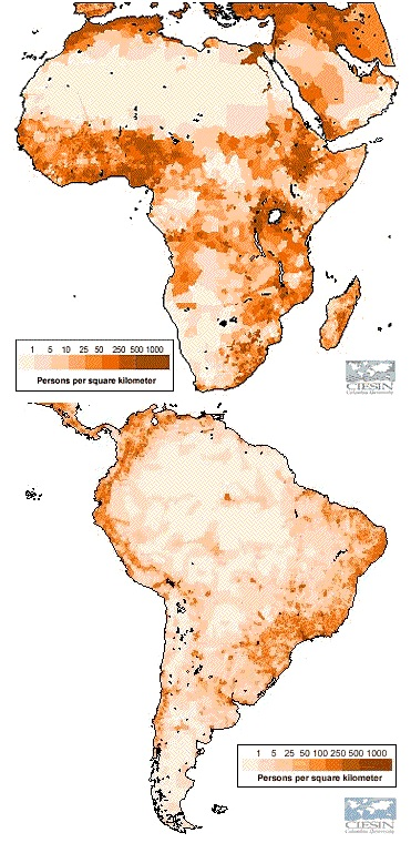 population density Africa South America