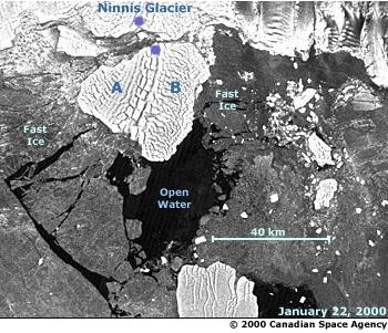 Ninnis Glacier Tongue initial calving