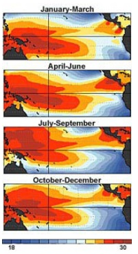 Pacific mean ocean temperatures